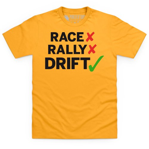 Race Rally Drift T-shirt, Uomo Giallo