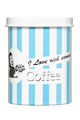 Premier Housewares 0507912 Boîte à Café I Love Rich Aroma avec des Rayures Bleu Bonbon