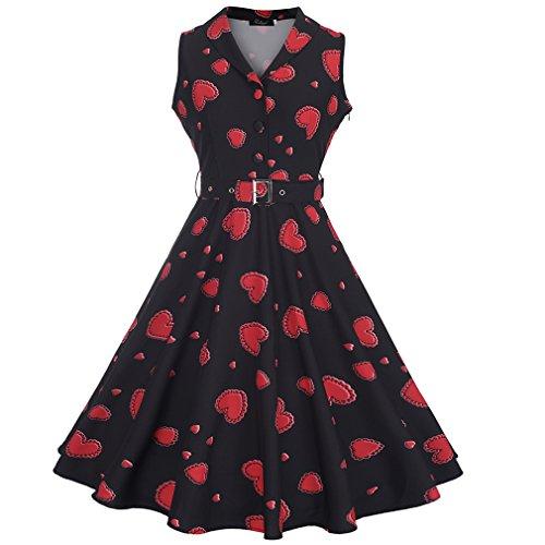 Honghu Damen ärmellos V-neck Blumen-Drucken Knielang Plissee Printing Sommerkleider Rot