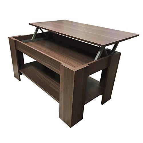 Generic T Up Top avec Table Basse Lift EE Table Lift avec Rangement Orage Dar Noyer foncé Stor Up Top Pierre Rouge
