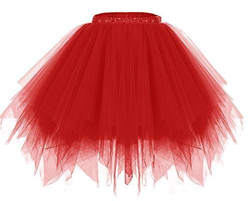 bridesmay Tutu Damenrock Tüllrock 50er Kurz Ballet Tanzkleid Unterkleid Cosplay Crinoline Petticoat für Rockabilly Kleid Red L