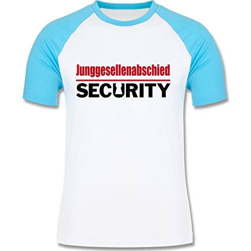 JGA Junggesellenabschied - Junggesellenabschied Security - zweifarbiges  Baseballshirt für Männer Weiß/Türkis