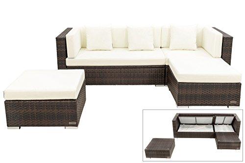 OUTFLEXX kompaktes Lounge Sofaset aus Polyrattan in braun marmoriert für 5 Personen enthält...