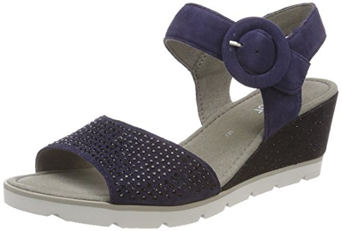 Gabor Shoes Damen Basic Riemchensandalen, Blau (Bluette), 44 EU