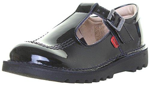Kickers , Chaussures de ville à lacets pour fille noir verni