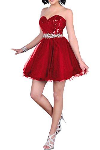Milano Bride beliebt Traegerlos A-linie Damen Abendkleider Cocktailkleider Tanzenkleider mit Paillette Kurz Neu Rot