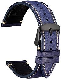 WOCCI Correa Reloj 22mm con Repuestos de Banda, Hebilla Negra, Recambio Unisex (Azul