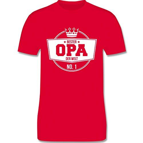 Shirtracer Opa - Bester Opa der Welt - Herren T-Shirt Rundhals Rot