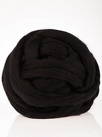 MEROLINO dicke, flauschige, extrem hochwertige Merino Wolle | 3cm starkes Garn | Wolle zum Stricken von Decken, Schals, Überwürfen | extrem weich, nicht chemisch behandelt