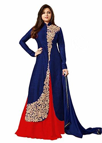 VIHA Blue Banglore Silk Embroidered Anarkali Salwar kameez