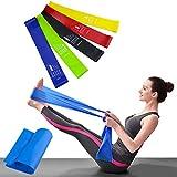 Bande Elastique Fitness Set 6 Lot de Bandes élastiques d'exercice - Bande de Resistance -Équipement d'Exercices pour Musculation Pilates Squat Sport Rééducation Physique et Motrice