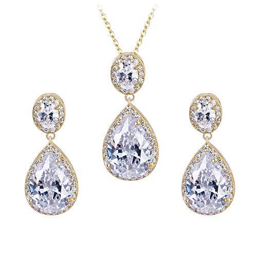 Kostüm Ohrringe Diamant Schmuck - Ever Faith Damen Zirkonia Braut Graceful Teardrop Halskette Ohrringe Set Clear Gold-Ton