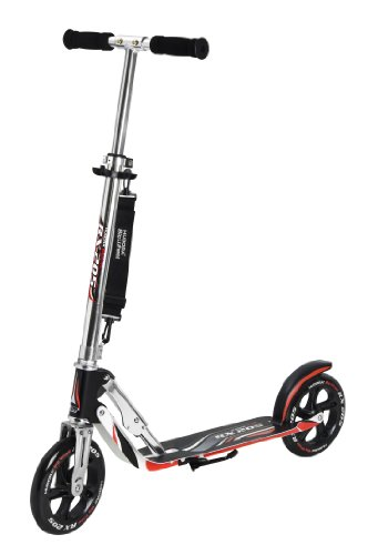 HUDORA Big Wheel Scooter 205, Tret-Roller klappbar - City-Scooter - 14724, schwarz/rot