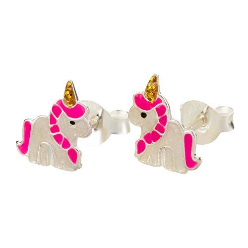 Kinder Ohrringe Magic Einhorn 925 Silber in Geschenkbox