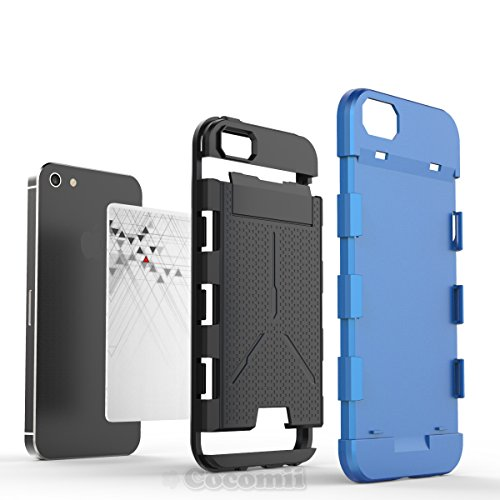 iPhone SE / 5S / 5 Hülle, Cocomii Viking Armor NEW [Heavy Duty] Premium Built-in Multi Card Holder Shockproof Hard Bumper Shell [Military Defender] Full Body Dual Layer Rugged Cover Case Schutzhülle A Baby Blue
