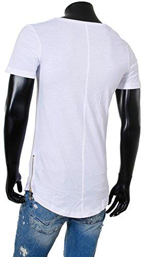 Redbridge Herren Jungen T-Shirt Zipper Oversized kurzarm Rundhals RB-41289 Weiß