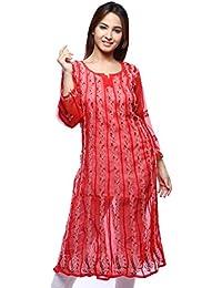 ADA Lucknowi Chikan Hand Embroidered Faux Georgette Anarkali Kurti Regular Wear A129523