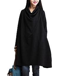 a3eac1de9110 BienBien Robe Manche Longue Femme Col Bénitier Pull Oversize Automne Hiver  Sweat Robe Grande Taille Elegant
