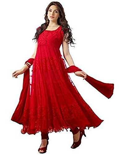 Great Indian Festival Anarkali suits for women Designer Party Wear Today Offers Low Price Sale Top Red Color Brasso & Net Fabric Free Size Salwar Suit