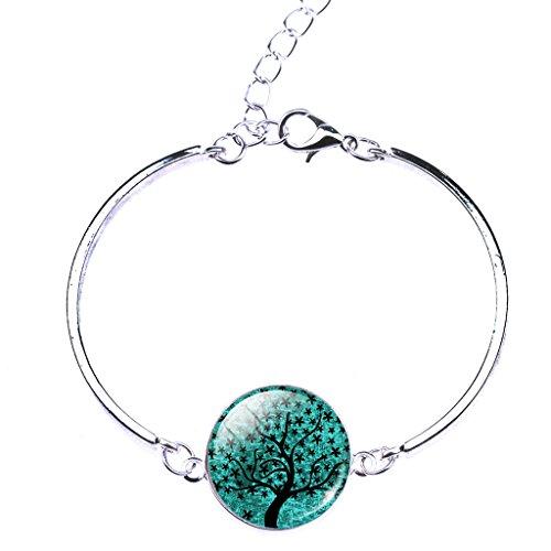 Jiayiqi Femmes Arbre De Vie Croissant Lune Pendentif Collier Boucles D'oreilles Bracelet Ensemble No3