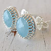 Aquamarine earrings sterling silver Studs 8 mm March Birthstone Natural stone