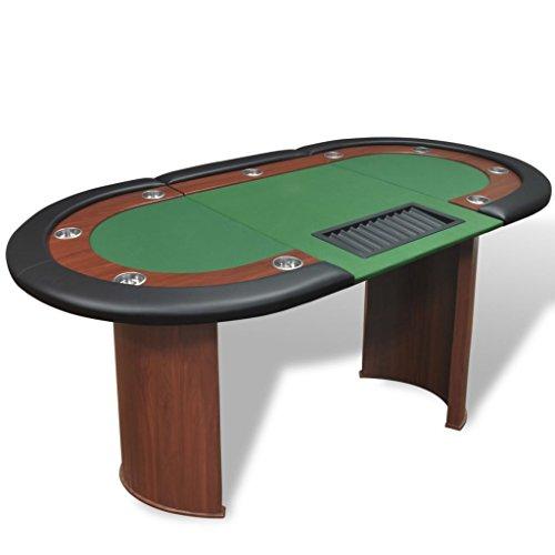 vidaXL 10 Spieler Pokertisch mit Dealerbereich und Chipablage Grün