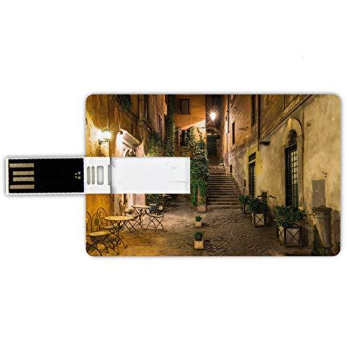 USB-Sticks 8GB Kreditkartenform Italienisch Memory Stick-Bankkartenstil Old Courtyard Rom Italien Cafe Stühle Stadt Historische Häuser in Straße,Marineblau und Beige, wasserdichte Stift Daumen schöne -