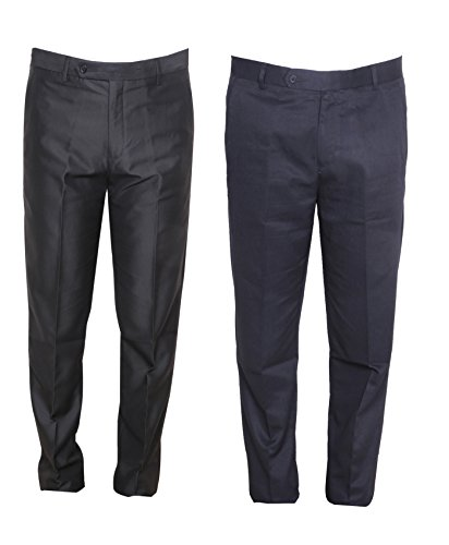 Indistar Rayon Regular fit Formal Trouser For Mens(Pack of 2)_Black::Navy Blue_Size-34