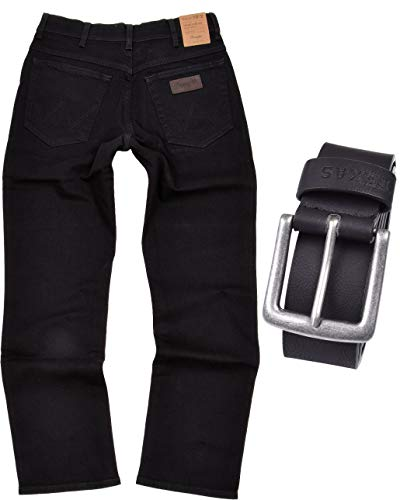 Wrangler TEXAS STRETCH Herren Jeans Regular Fit inkl. Gürtel (W34/L32, Black) - Form Fit Gürtel