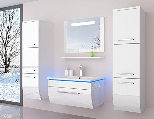 Badmöbelset Badezimmermöbel Komplett Set Waschbeckenschrank Mit Waschtisch  Spiegel 2 Hochschränke Mit LED Hochglanz Fronten Weiß 70
