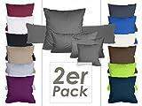 Doppelpack Kissenbezüge aus sanforisiertem Baumwoll-Jersey zum Sparpreis - in dezentem Design - 12 dekorativen Farben und 5 Größen, 40 x 80 cm, apfelgrün