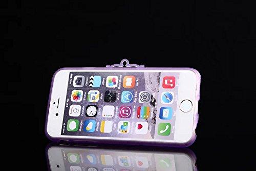 iPhone 6Plus Coque, meaci (TM) iPhone Téléphone portable Coque pour iPhone 6Plus 14cm Glitter Bling fluorescence avec béquille papillon cordon chaîne en caoutchouc TPU Étui souple (pa