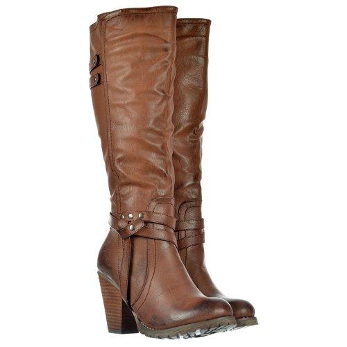 Onlineshoe delle signore delle donne alti stivali alti al ginocchio biker con cinghie e tacco - Nero, beige, marrone Marrone