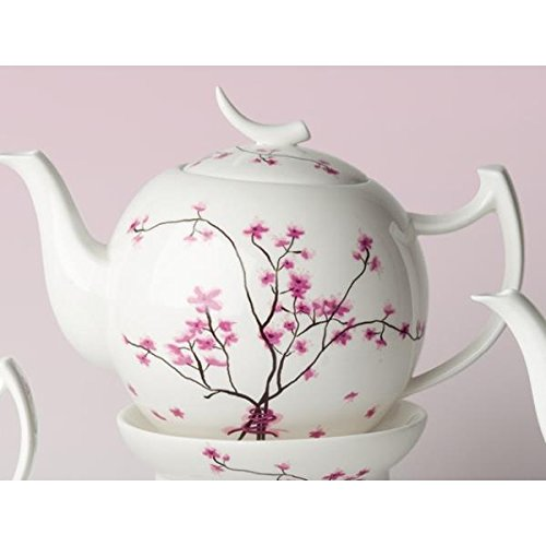 TeaLogic Teekanne Cherry Blossom Weiß mit Kirschblüten 0,4 Liter Bone China Blossom Bone China