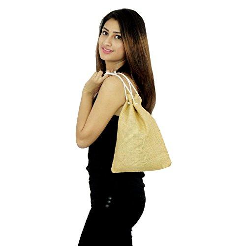 Handgemachte Frauen-Designer Schnür Geschenk-Beutel Baumwolle Jute Potli Taschen Beige-1