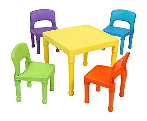 Liberty House Toys Enfant Ensemble table et 4chaises, en plastique, multicolore