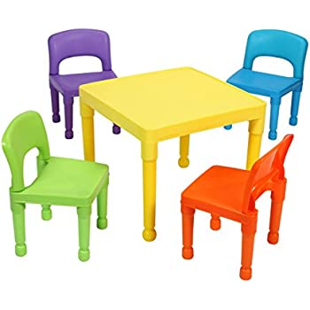 liberty house toys children 39 s table and 4 chairs set plastic multi colour. Black Bedroom Furniture Sets. Home Design Ideas
