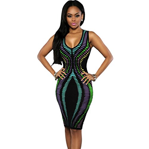 GWELL Fashion Damen Bodycon Etuikleid Tief U-Ausschnitt Neckholder Partykleid Kleid Schulterfreies Kleid Muster-B