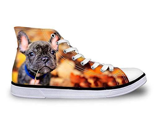 Hi Tops Women Men Comfy High Top Lace Up Boys Flat Trainers Canvas Couple Shoes Black Dog CA5014AK UK 3\u002FEU36