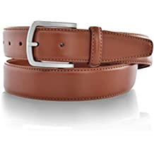LUCHENGYI Cinturones de Piel con Pespuntes y Hebilla Antialérgica Libre de Níquel de 35mm para Hombres