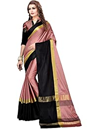 ThreeShops Women's Pink Black Cotton Silk Party Wear Saree With Blouse Piece