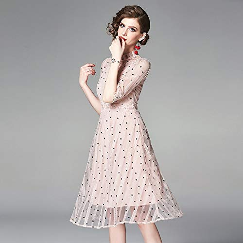 QUNLIANYI Ballkleid Lang Damen Tüll Pink Dress Dot Printing Mesh Lace Dresses Frauen Kurz Vor Elegant Party Female Clothes L Pink-green-dot Kleid