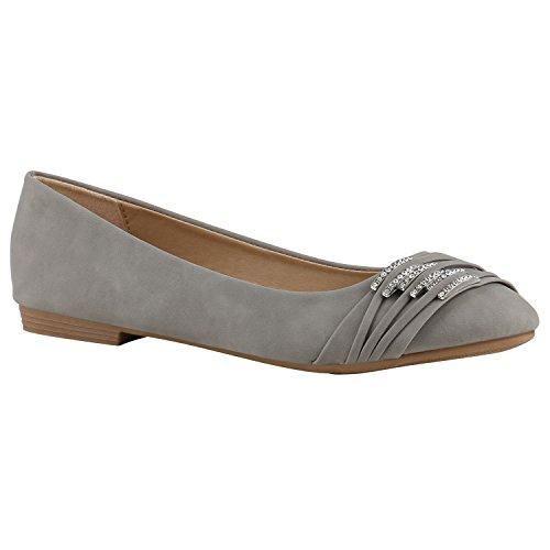 Klassische Damen Ballerinas Lederoptik Flats Freizeit Schuhe Übergrößen Hellgrau Strass