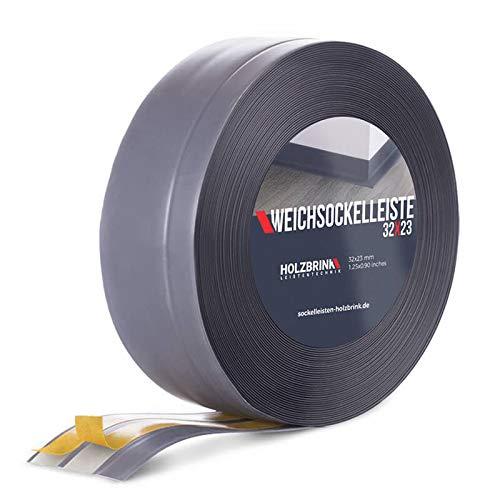HOLZBRINK Weichsockelleiste selbstklebend DUNKELGRAU Knickleiste, 32x23mm, 10 Meter
