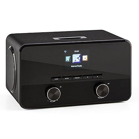 auna Connect 100 BK Internetradio WLAN Radio Mediaplayer (MP3-fähiger USB-Port, Breitbandlautsprecher, Bluetooth Funktion, Weckfunktion) schwarz