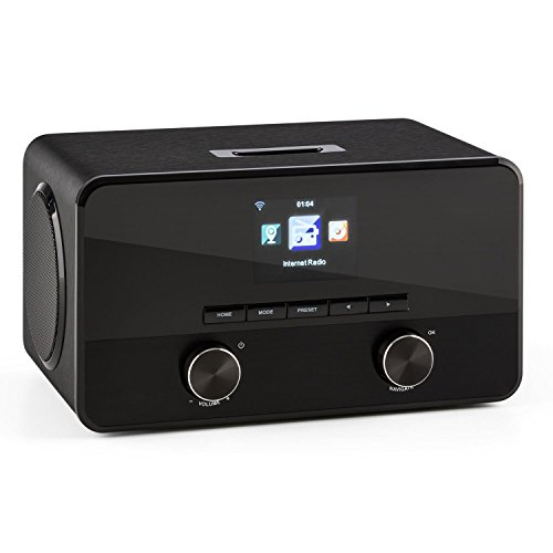 auna Connect 100 BK Digitales Internetradio mit WLAN, Bluetooth, MP3-USB, AUX, Wecker und Farbdisplay schwarz