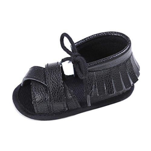 Koly_Newborn Ragazze Ragazzi greppia scarpe morbide suola antiscivolo sandali del bambino Sneakers nappa (SIZE 13, Nero)
