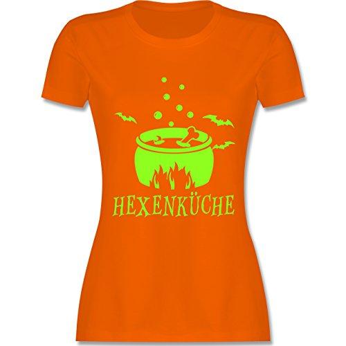 Küche - Hexenküche - L - Orange - L191 - Damen T-Shirt Rundhals