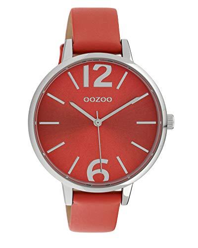 Oozoo Damenuhr mit Lederband 40 MM Silber/Rot C10156