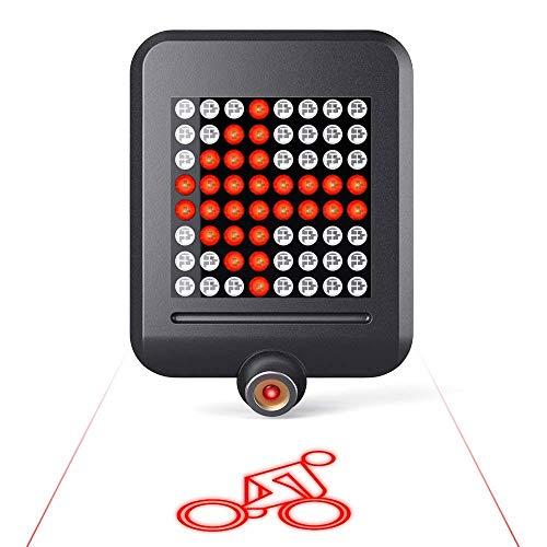 MUTANG 64 LED Fahrradlicht, Mountainbike Intelligente Lenkbremsrücklicht USB Wiederaufladbare Projektionslampe, fahrendes Warnlicht - 9 Fahrrad-licht Led